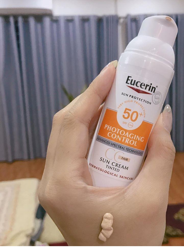 Kem chống nắng Eucerin Sun Creme Tinted CC Fair SPF 50+ hỗ trợ kiểm soát dầu hiệu quả