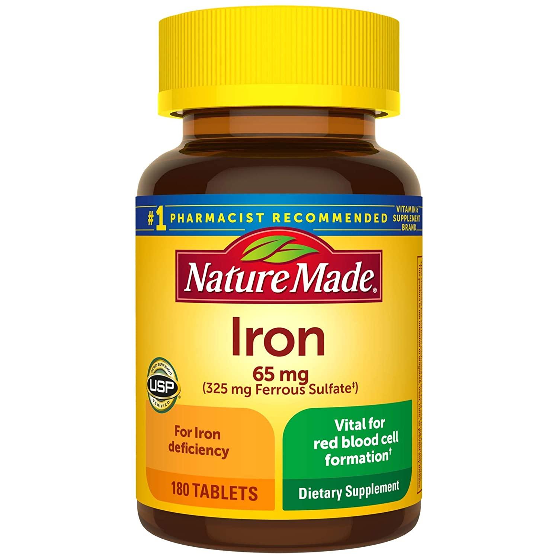 Viên uống bổ sung sắt Nature Made Iron 65mg 180 viên
