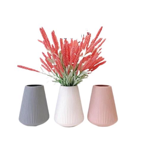 Bình hoa gốm sứ Bát Tràng họa tiết sọc nổi màu pastel