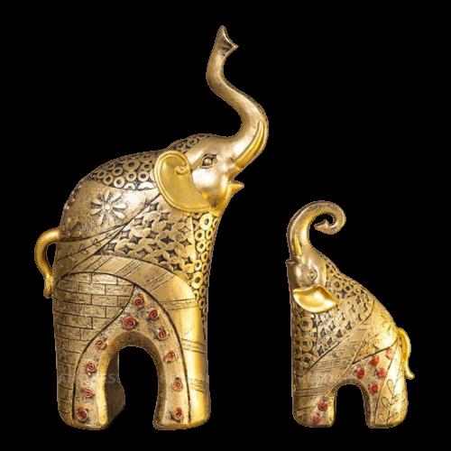 Cặp tượng voi vàng mẹ - con chất liệu nhựa thông