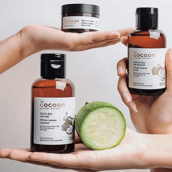 Gel rửa mặt bí đao Cocoon Winter Melon Cleanser kết hợp với bộ chăm sóc da Cocoon cho da mịn màng