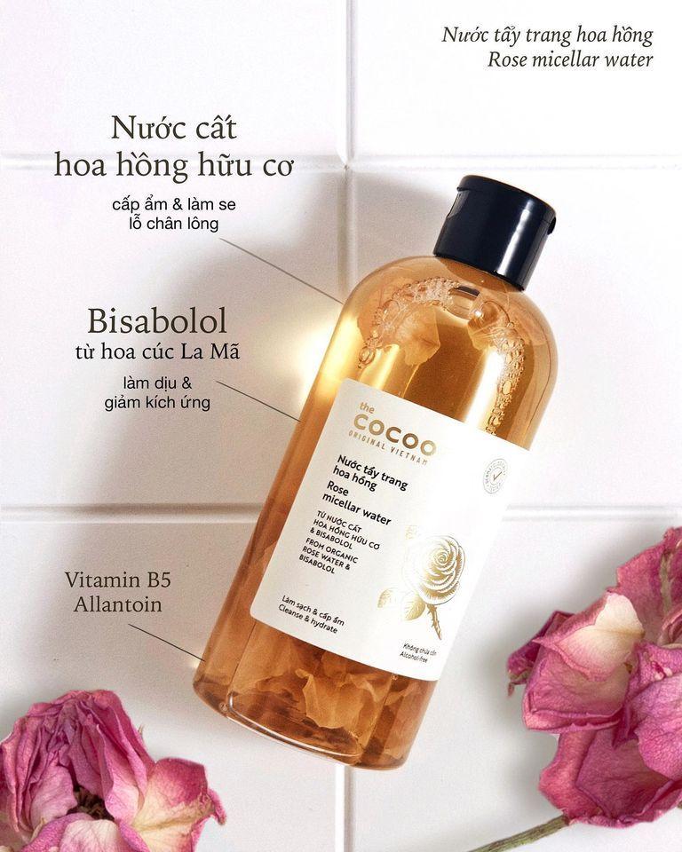Nước tẩy trang hoa hồng Cocoon Rose Micellar Water thành phần thiên nhiên lành tính