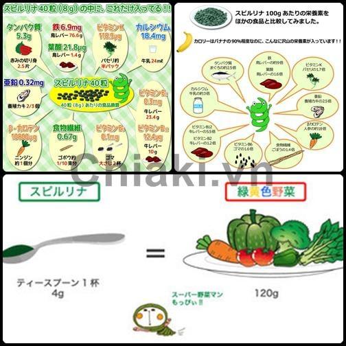 Hàm lượng dinh dưỡng có trong tảo xoắn Spirulina Nhật Bản