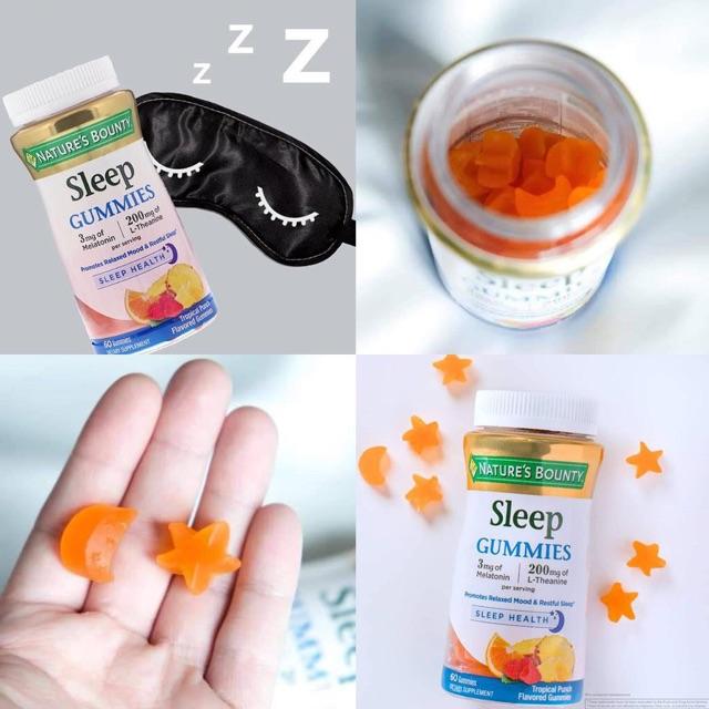Viên nhai ngủ ngon Kẹo dẻo hỗ trợ ngủ ngon Nature's Bounty Sleep Gummies hương qua quả tự nhiên