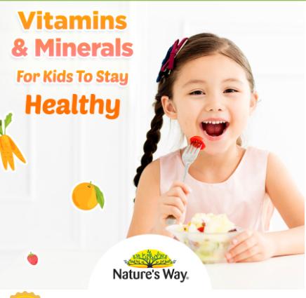 Kẹo Nature's Way Kids Smart Multivitamin + Probiotics hỗ trợ bé ăn ngon, tiêu hóa tốt