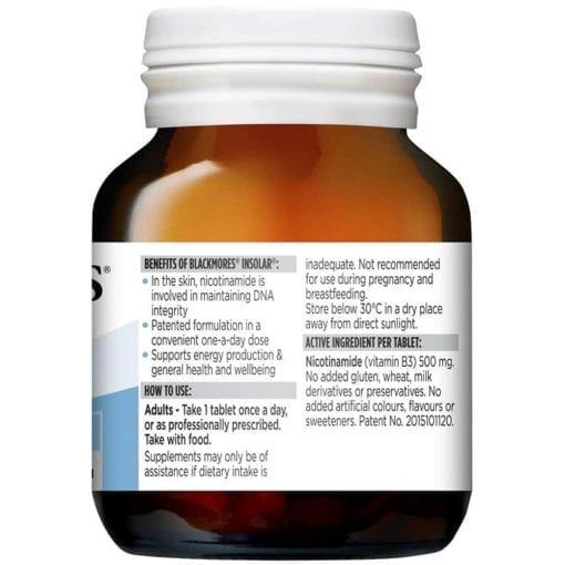 Viên uống đẹp da Blackmores Insolar High Dose Vitamin B3 500mg chính hãng hàng Úc