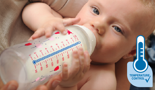 Bình sữa cảm biến nhiệt NUK PP cổ rộng, núm ty dẹt silicone