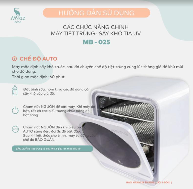 Hướng dẫn sử dụng máy tiệt trùng sấy khô bình sữa Moaz BéBé MB025