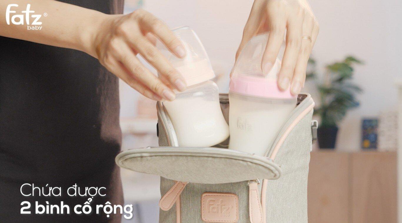 Túi giữ nhiệt bình sữa Fatzbaby Thermo 2 FB2016SL hỗ trợ cho 2 bình miệng rộng