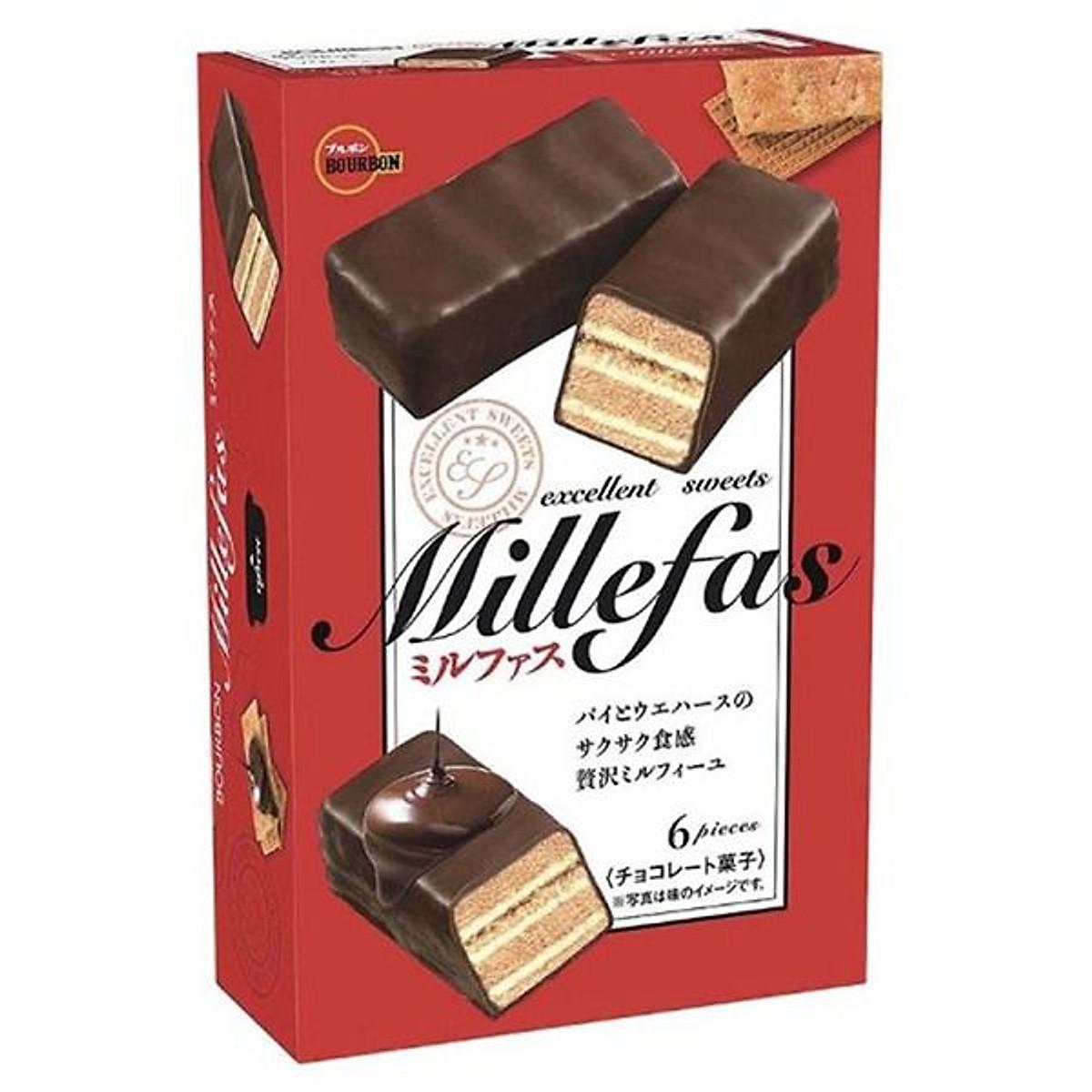 Combo 3 hộp bánh quy Bourbon Millefas vị socola đen