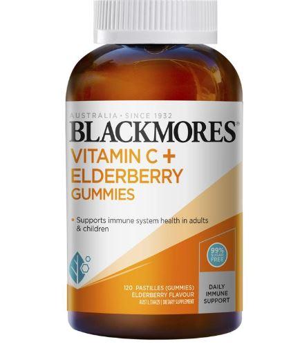 Kẹo dẻo Blackmores Vitamin C+ Elderberry 120 Gummies của Úc chính hãng