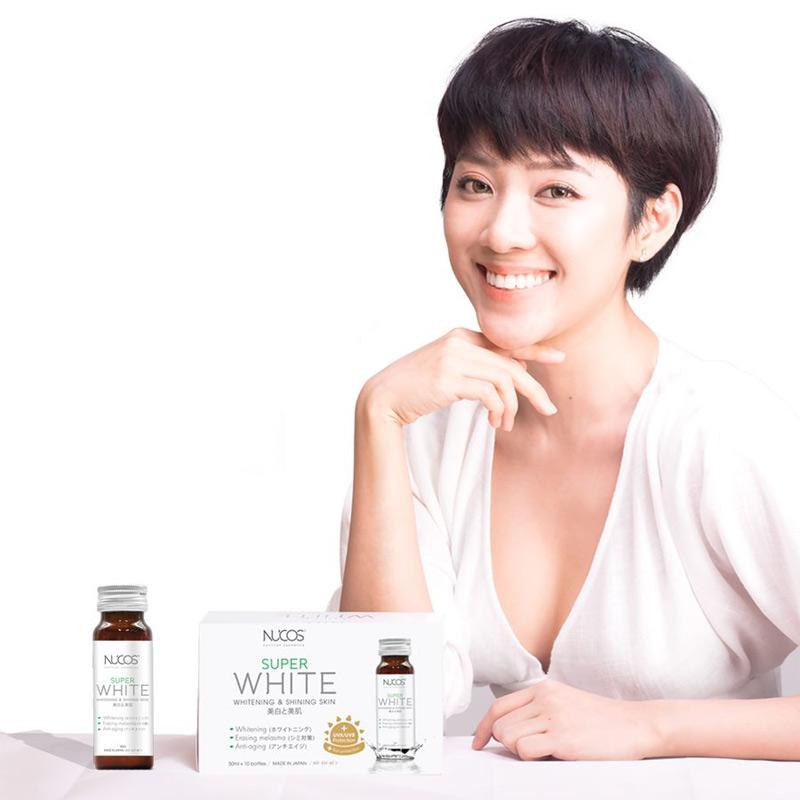 Nước uống hỗ trợ trắng da Nucos Super White Nhật Bản chăm sóc da sáng mịn, tươi trẻ