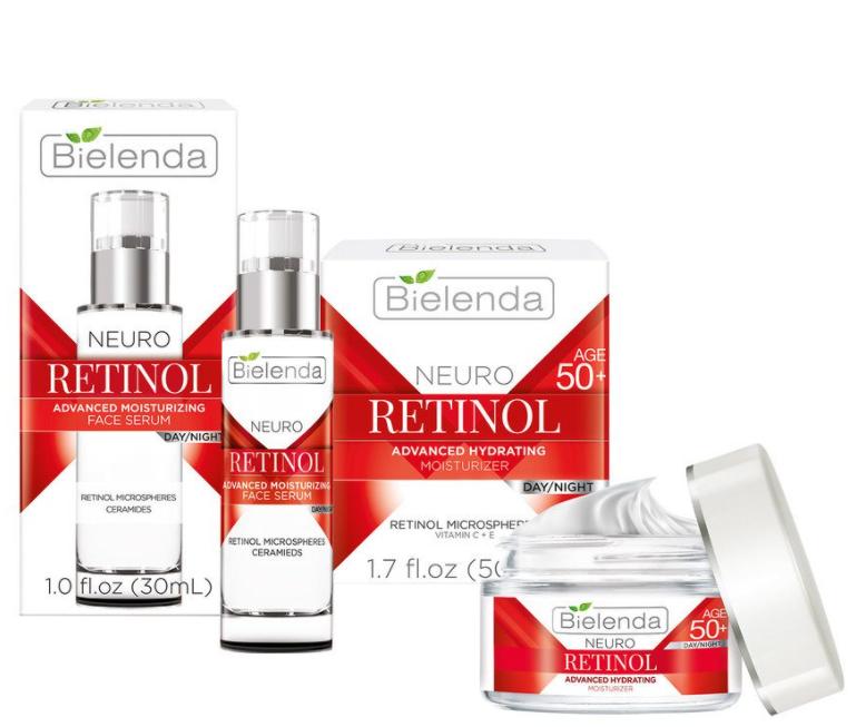 Serum dưỡng ẩm trẻ hóa Bielenda Neuro Retinol Advanced Moisturizing kết hợp với kem dưỡng Retinol