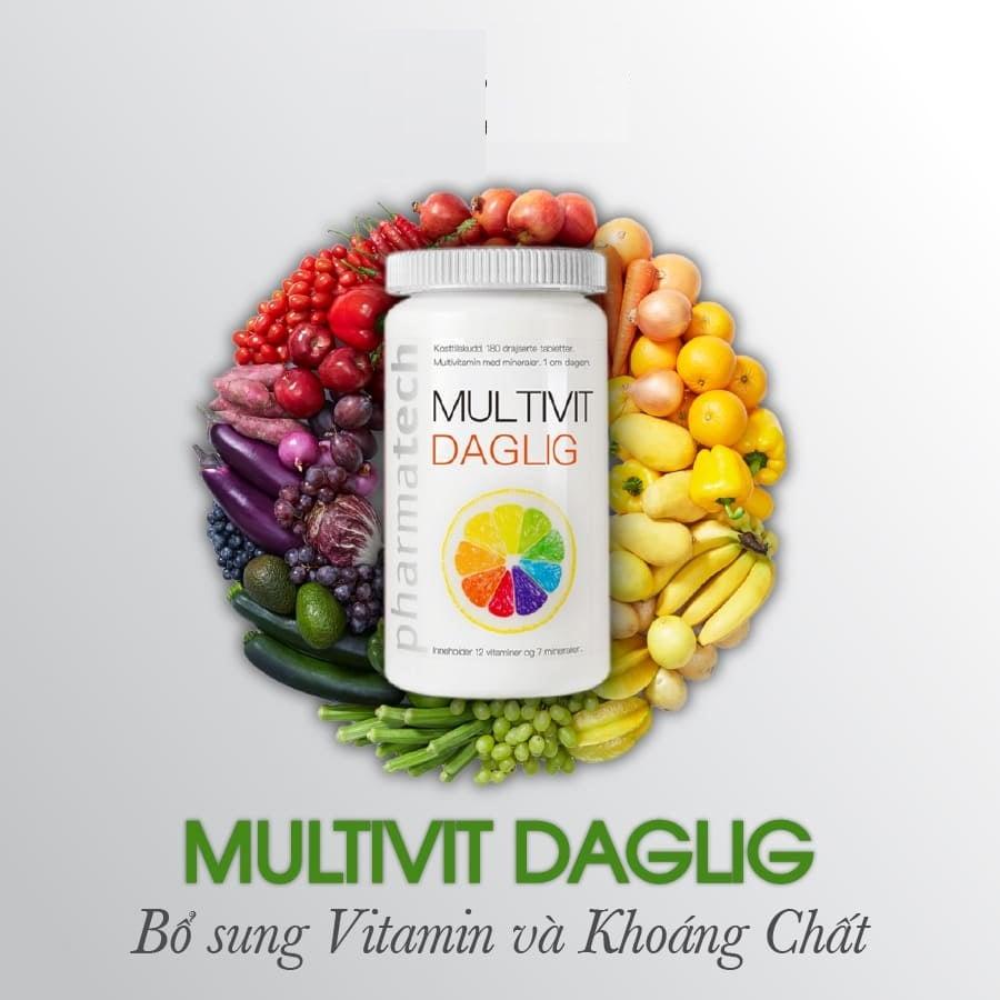 Viên uống Multivit Daglig Pharmatech cung cấp đủ hàm lượng dinh dưỡng đa dạng