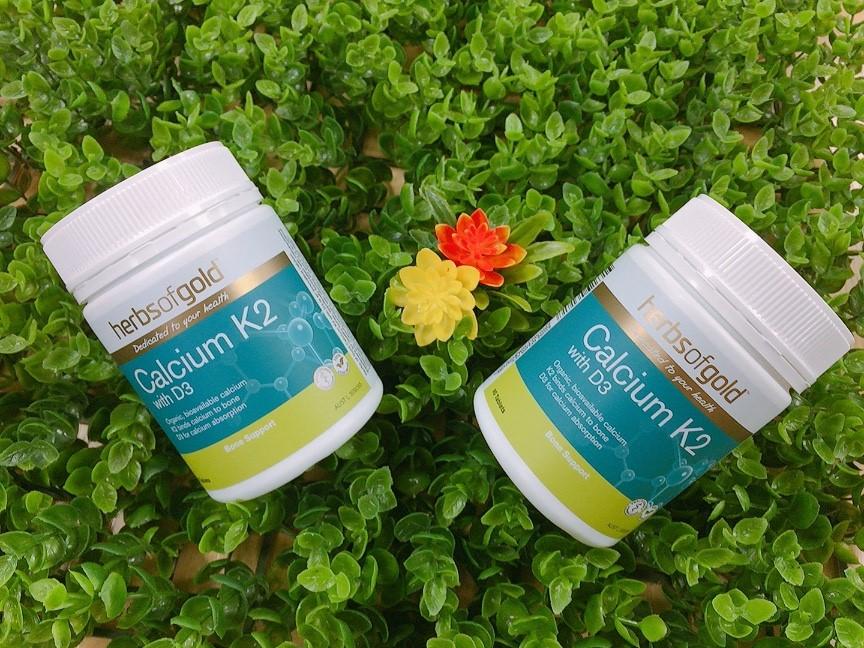 Viên uống hỗ trợ bổ sung Canxi Herbs Of Gold Calcium K2 With D3 hỗ trợ bà bầu