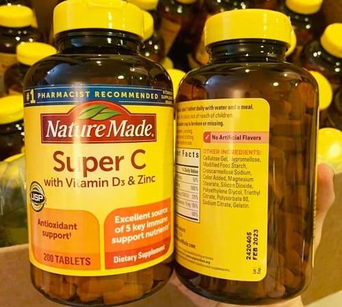 Viên uống Nature Made Super C with vitamin D3 & Zinc chăm sóc sức khỏe toàn diện