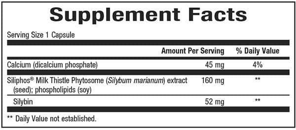 dưỡng chất trong mỗi viên uống Trunature Premium Milk Thistle