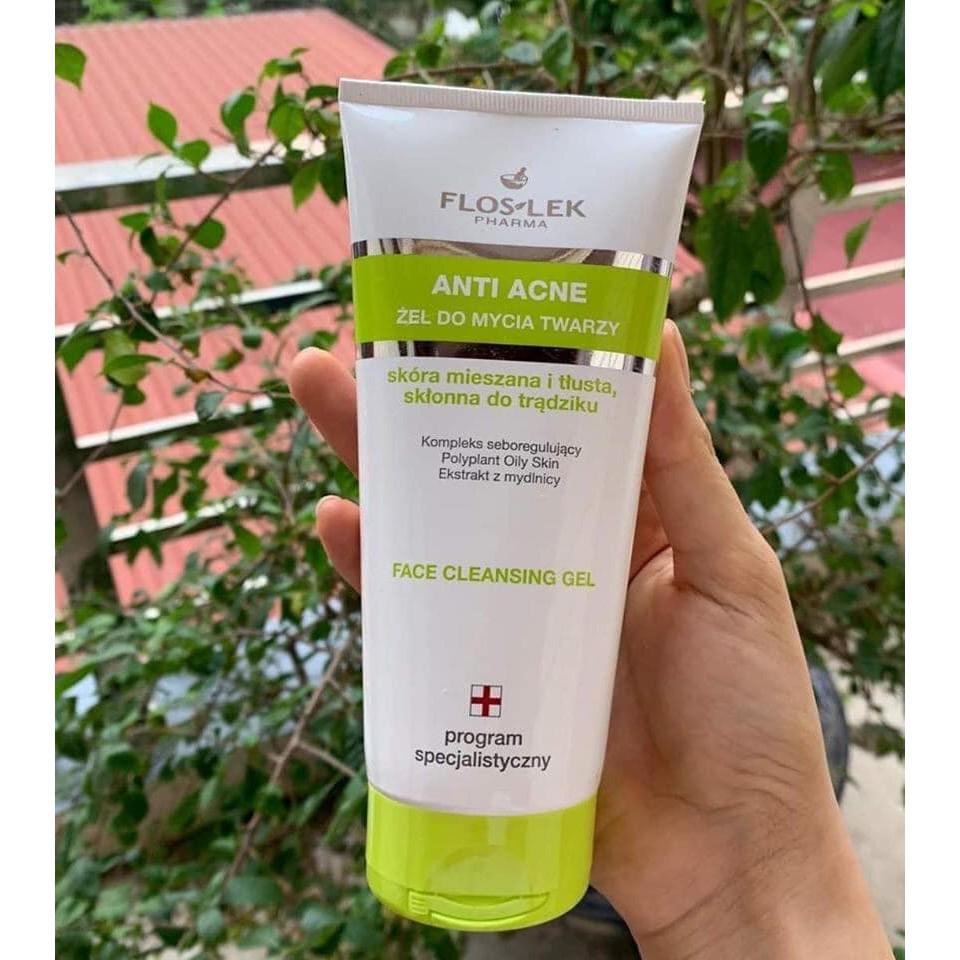Sữa rửa mặt cho da nhờn mụn Floslek Antibacterial Face Cleansing Gel