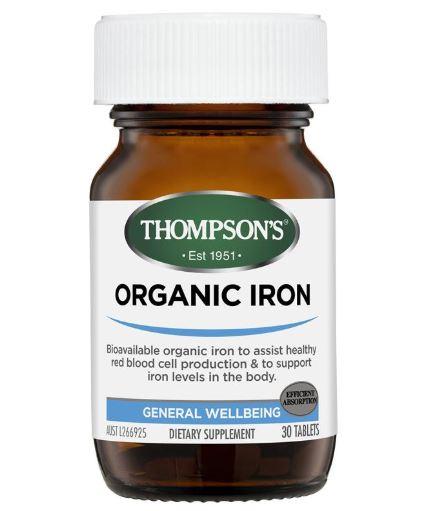 Viên bổ sung sắt hữu cơ Thompson's Organic Iron chính hãng Mỹ (30 viên)