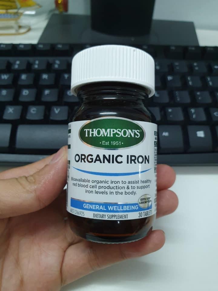 Viên bổ sung sắt hữu cơ Thompson's Organic Iron chính hãng Mỹ