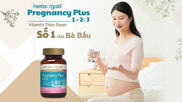 Viên uống Herbs Of Gold Pregnancy Plus 1-2-3 giúp mẹ khỏe, bé thông minh