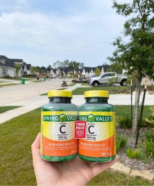 Viên uống Spring Valley Vitamin C With Natural Rose Hips 500mg chính hãng