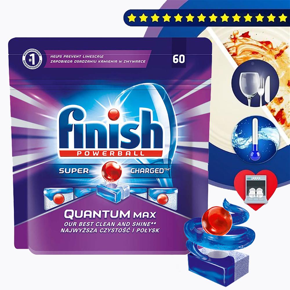 Túi 60 viên rửa chén Finish Quantum Max QT025459 1