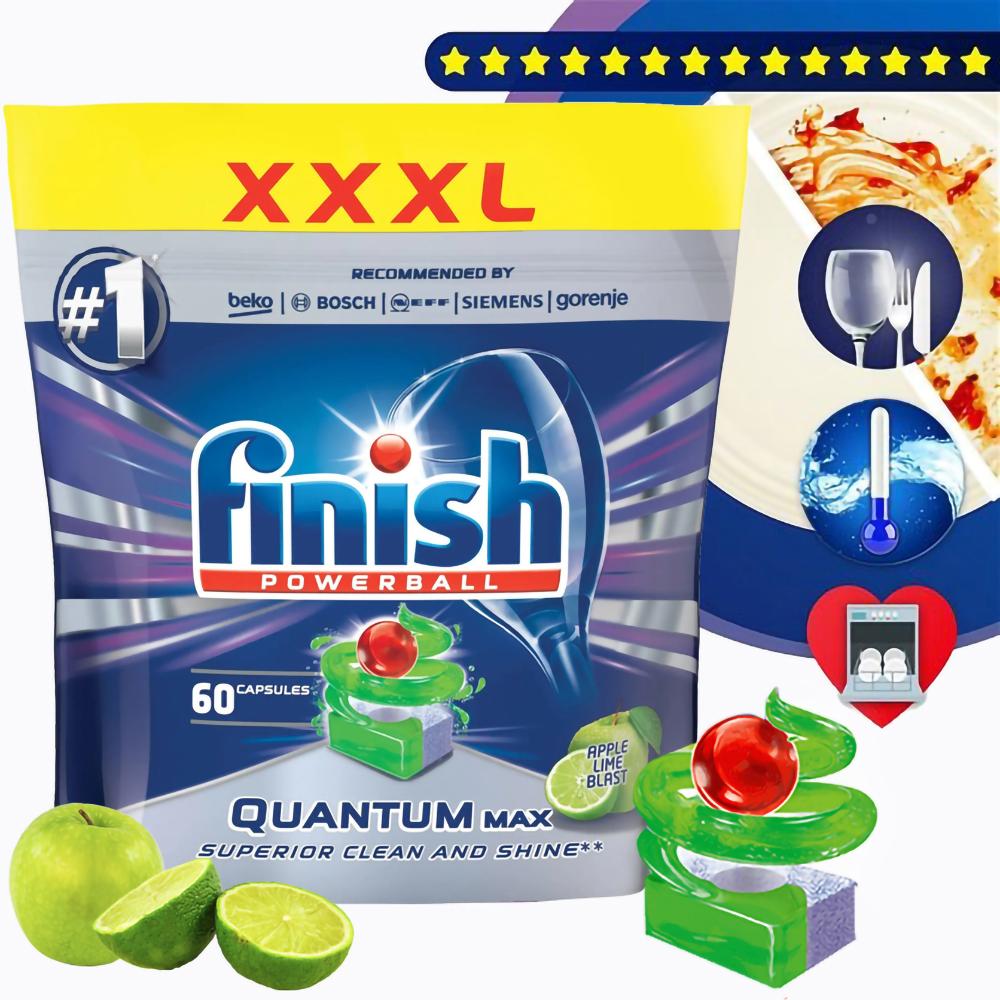 Túi 60 viên rửa chén Finish Quantum Max QQT025461 hương táo 1