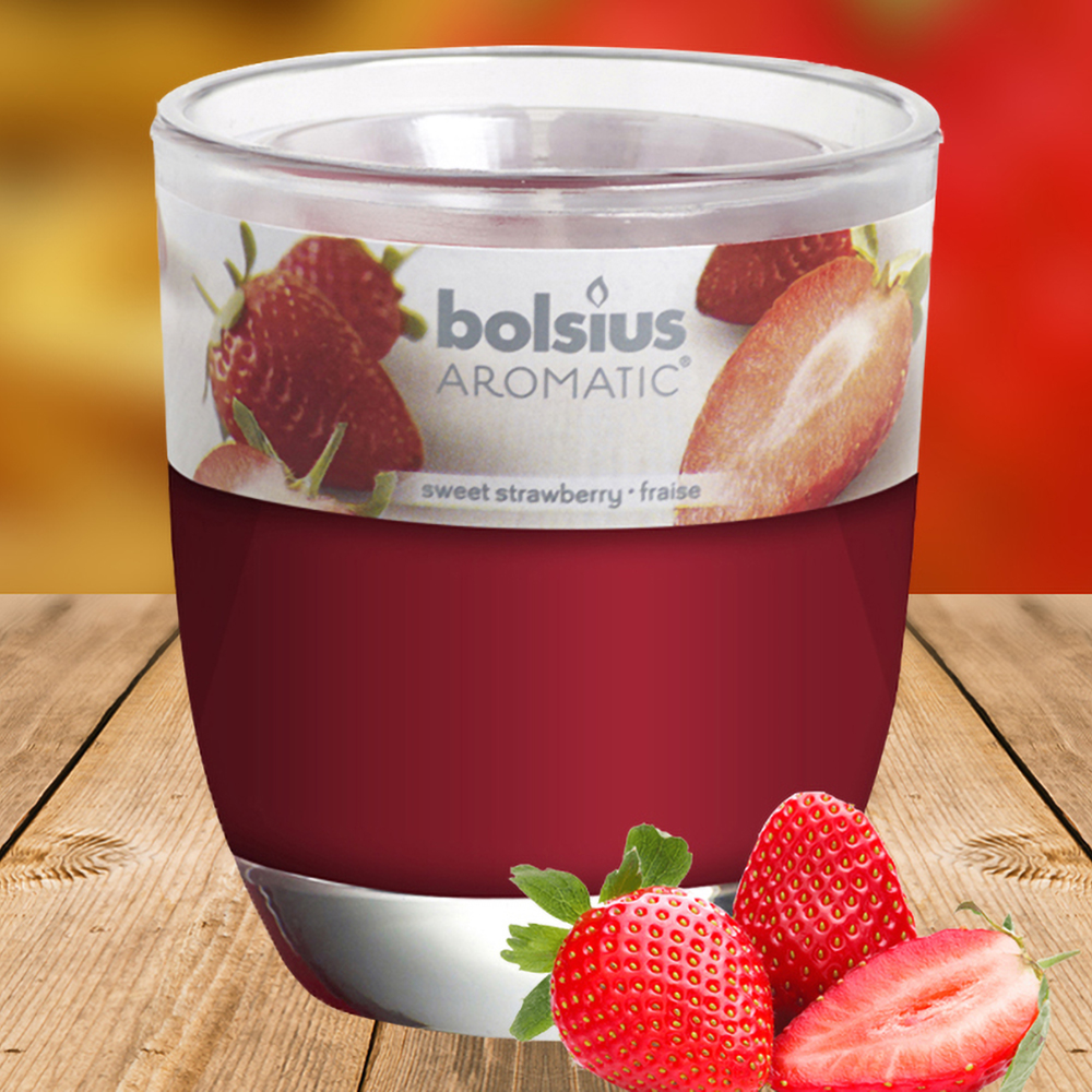 Ly nến thơm tinh dầu Bolsius 105g QT024335 hương dâu tây 1