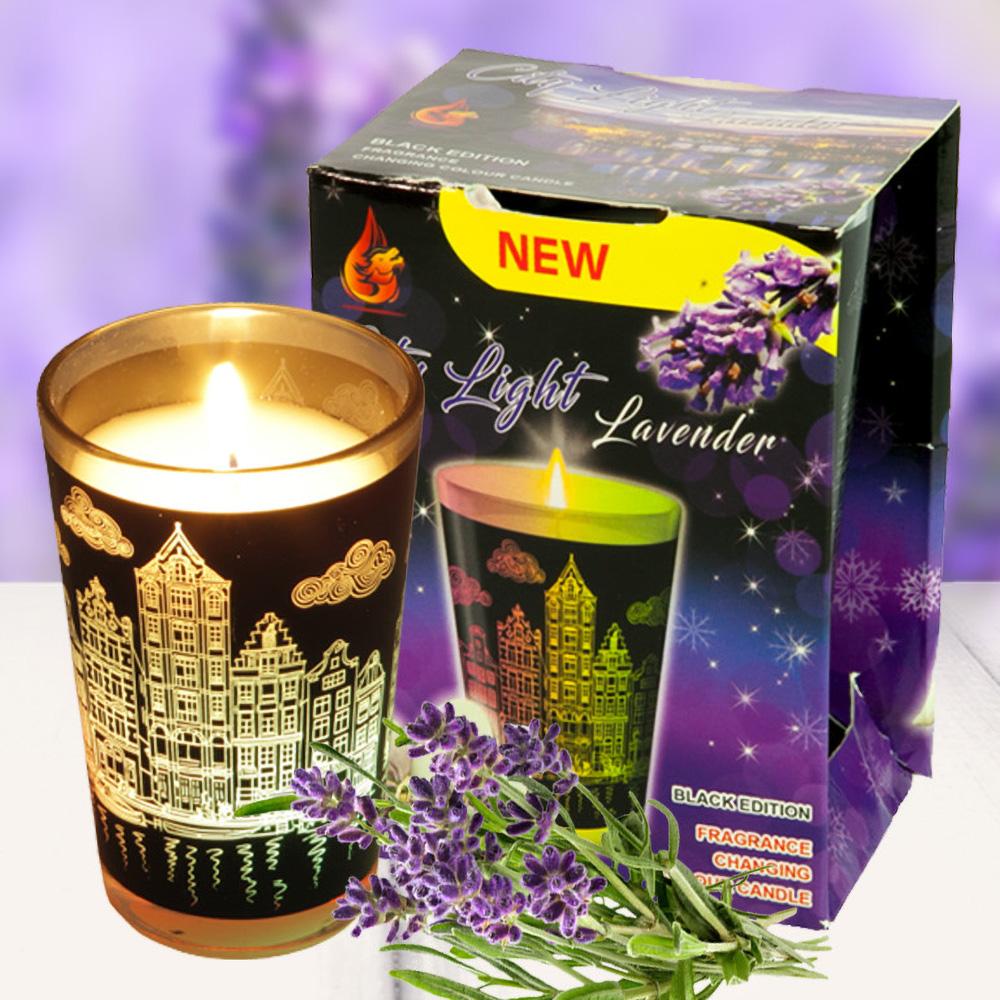 Ly nến thơm đổi màu Golden Dragon140g QT028406 hoa oải hương 1