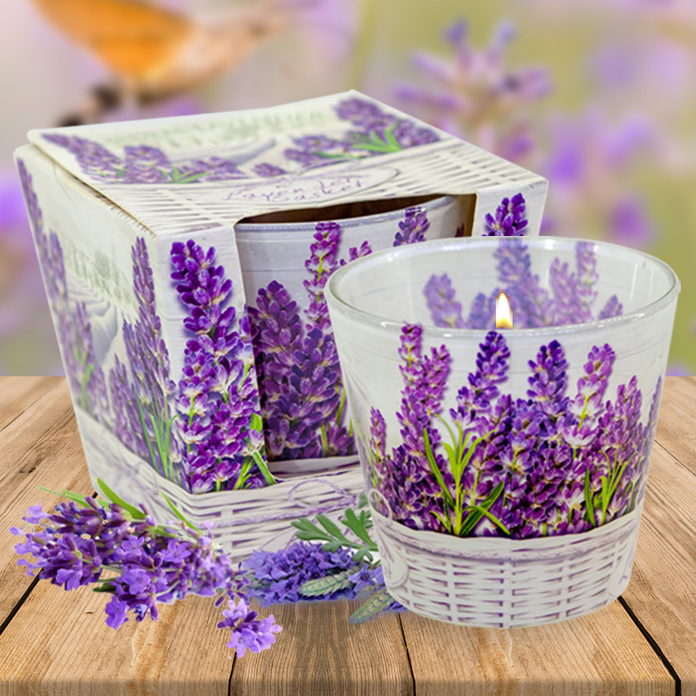 Ly nến thơm tinh dầu Bartek 115g QT024459 hoa oải hương 1