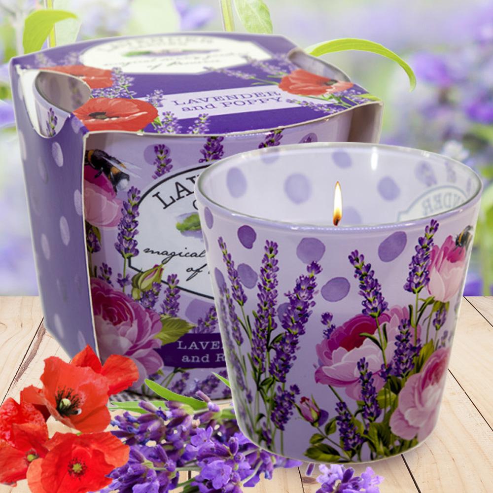 Ly nến thơm tinh dầu Bartek 115g QT028229 vườn hoa oải hương 1