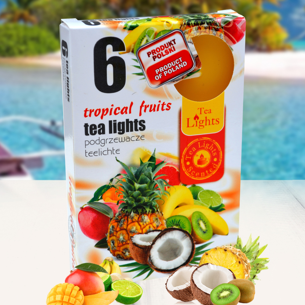 Hộp 6 nến thơm tinh dầu Tealight QT026055 trái cây nhiệt đới 1