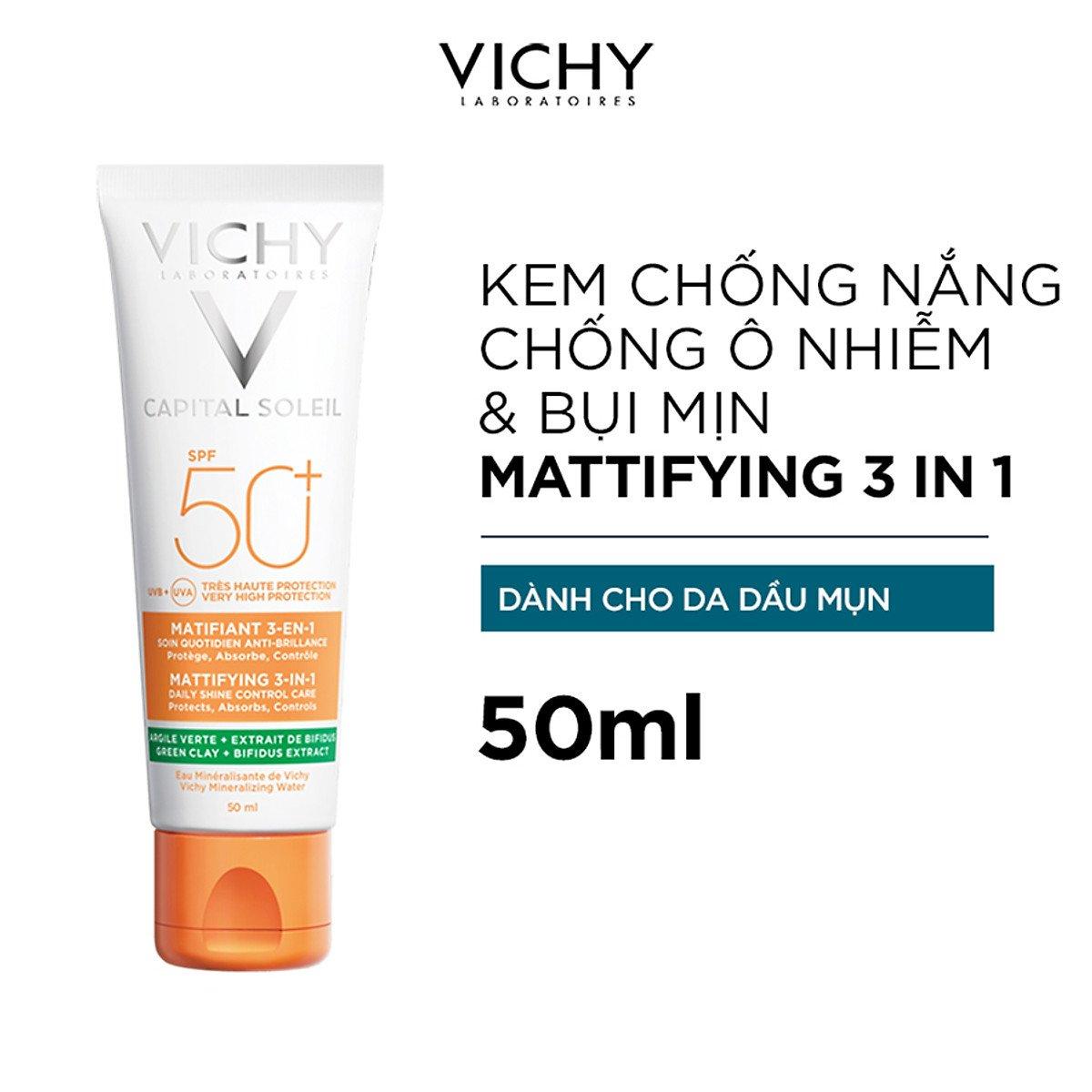 Kem Chống Nắng Hỗ Trợ Ngăn Ô Nhiễm Bụi Mịn Vichy Mattifying 50ml 1