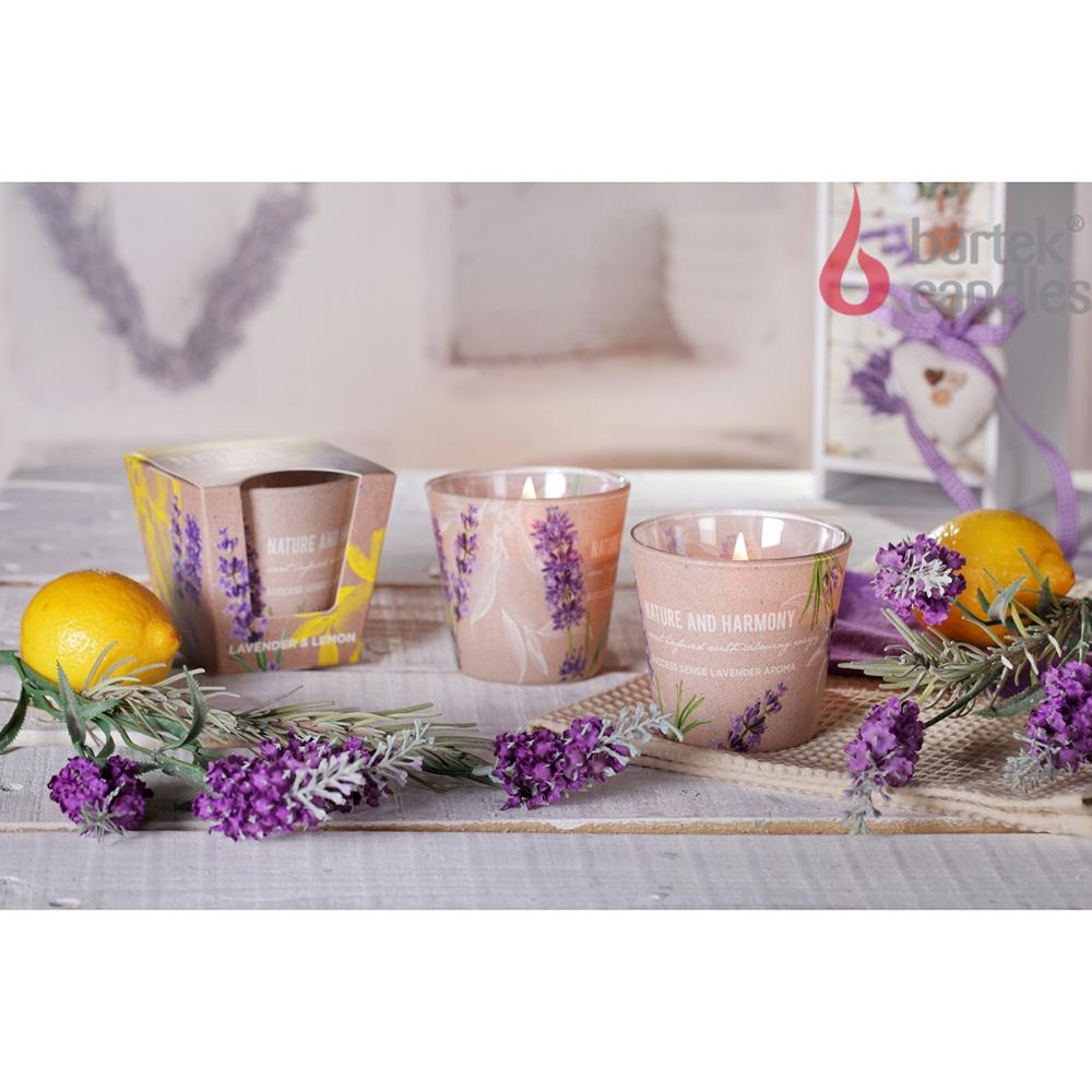 Ly nến thơm tinh dầu Bartek 115g QT1698 oải hương chanh 1
