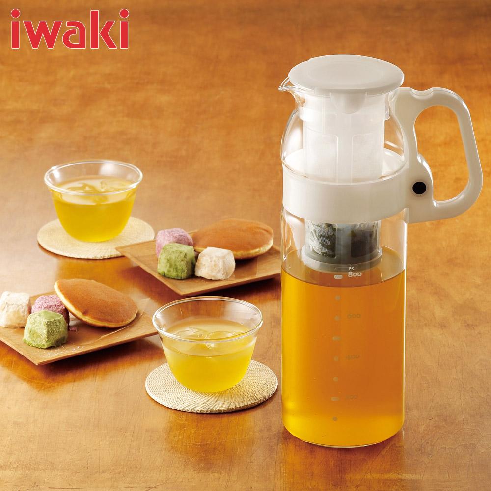 Bình nước thủy tinh Iwaki tay cầm trắng 1300ml 2