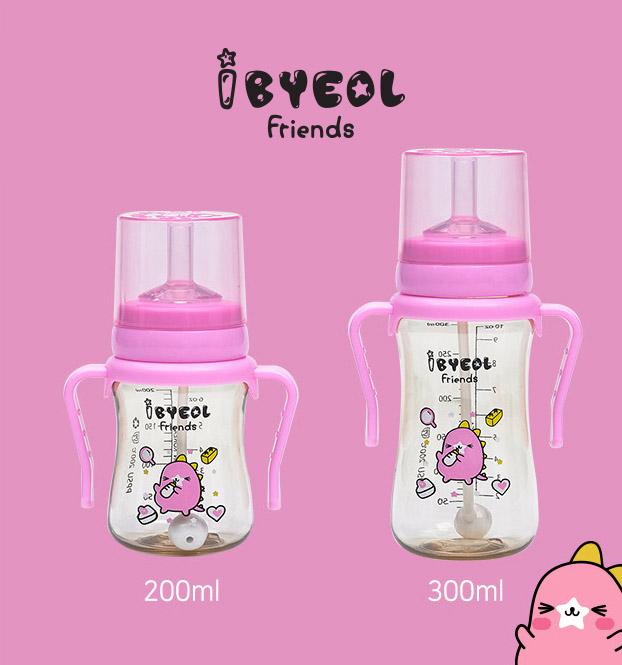 Bình ống hút tập uống Ibyeol Friends PPSU Hàn Quốc 4