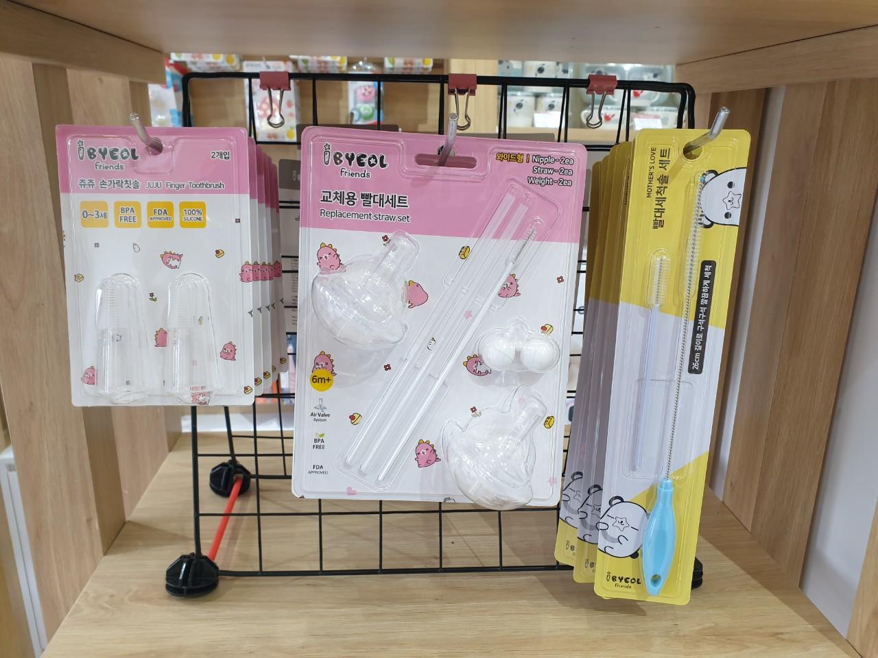 Bộ bàn chải ống hút núm ti bình sữa cho bé IBYEOL Friends Hàn Quốc 5