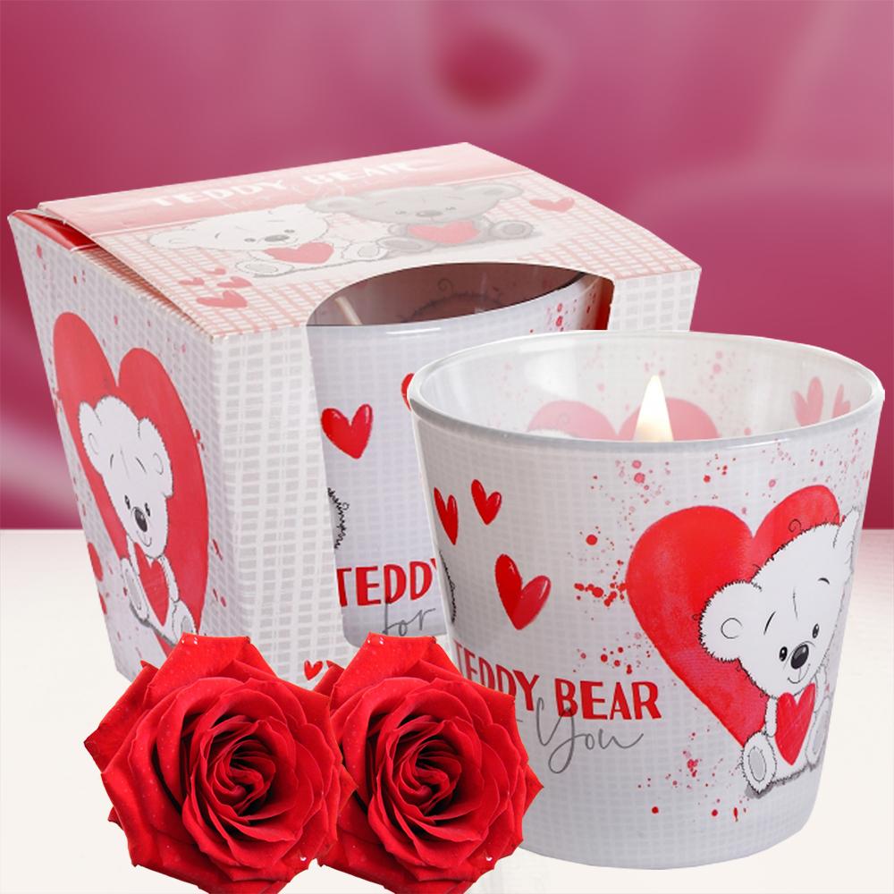 Ly nến thơm tinh dầu Bartek 115g QT8857 hương hoa hồng 1