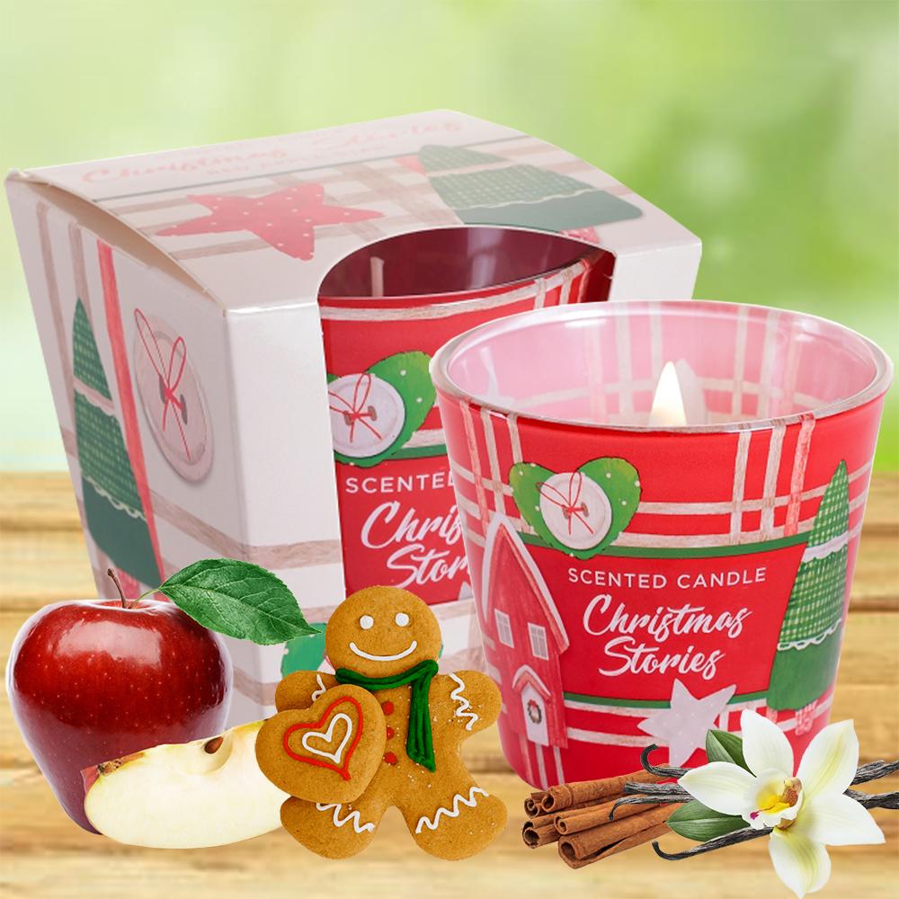 Ly nến thơm tinh dầu Bartek 115g QT8871 bánh gừng, táo đỏ 1