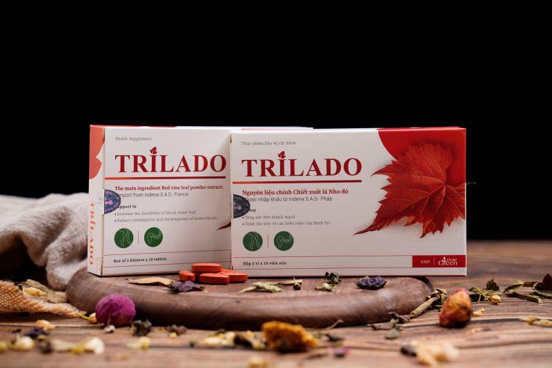 Viên uống hỗ trợ bảo vệ tĩnh mạch Trilado Chiết xuất Lá Nho đỏ 1