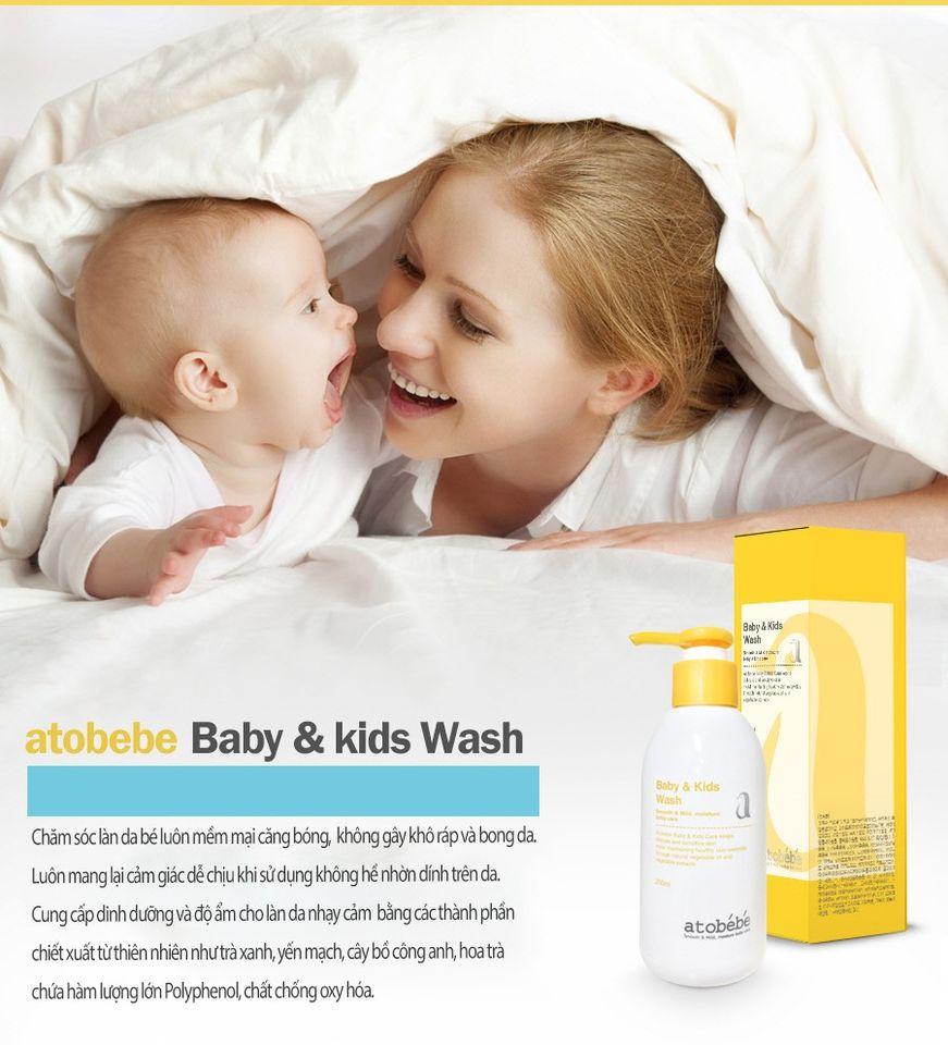 Sữa tắm gội cho bé Atobébé Baby Kids Wash Hàn Quốc 3