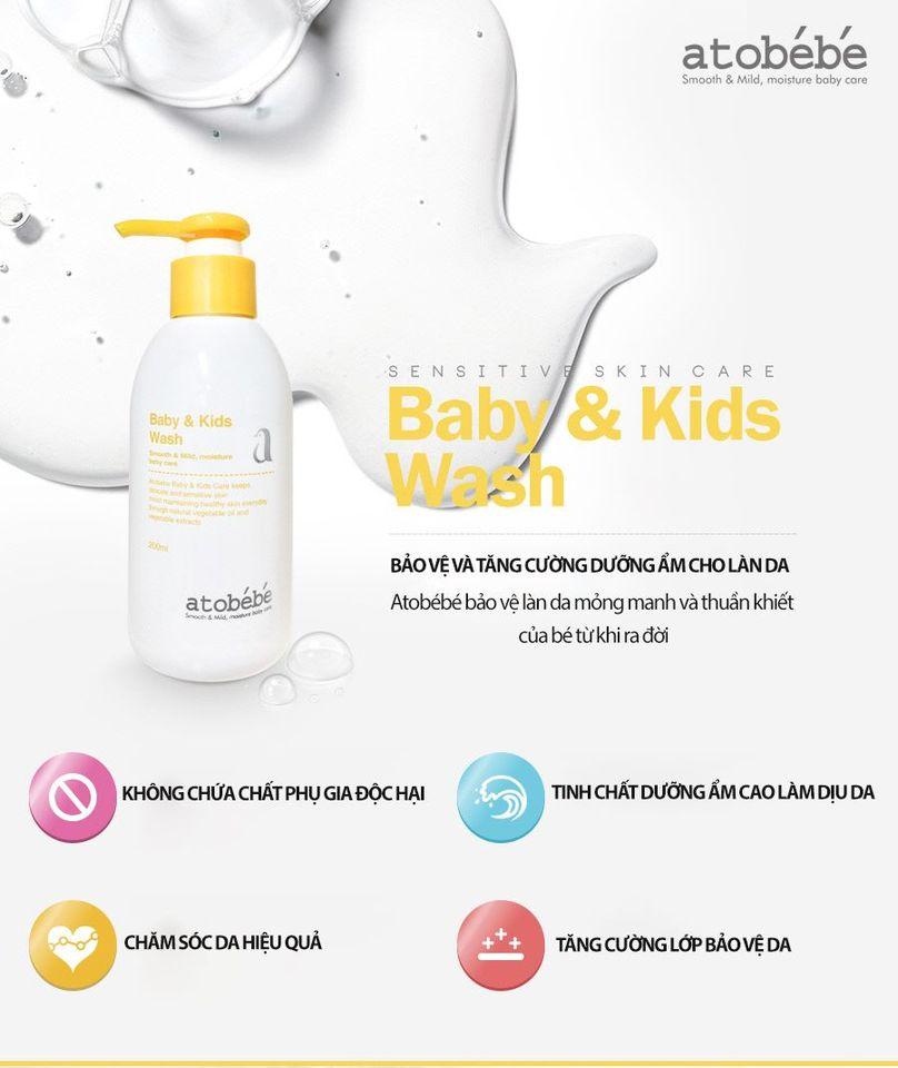Sữa tắm gội cho bé Atobébé Baby Kids Wash Hàn Quốc 4