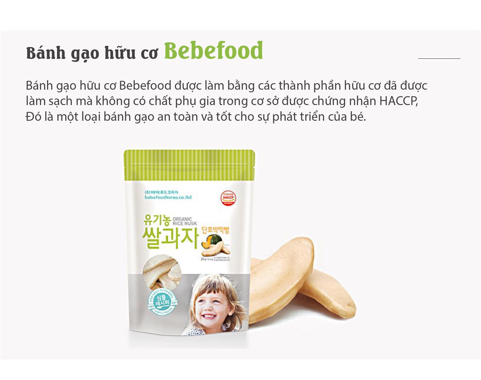 Bánh gạo ăn dặm hữu cơ cho bé Bebefood Hàn Quốc 4 vị 4