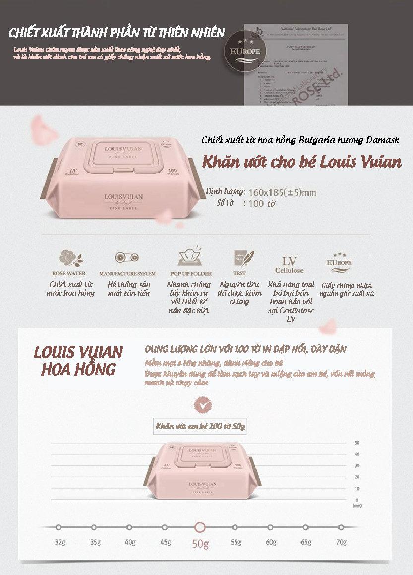 Khăn giấy ướt cho bé Louis Vuian 100 miếng Hàn Quốc 2