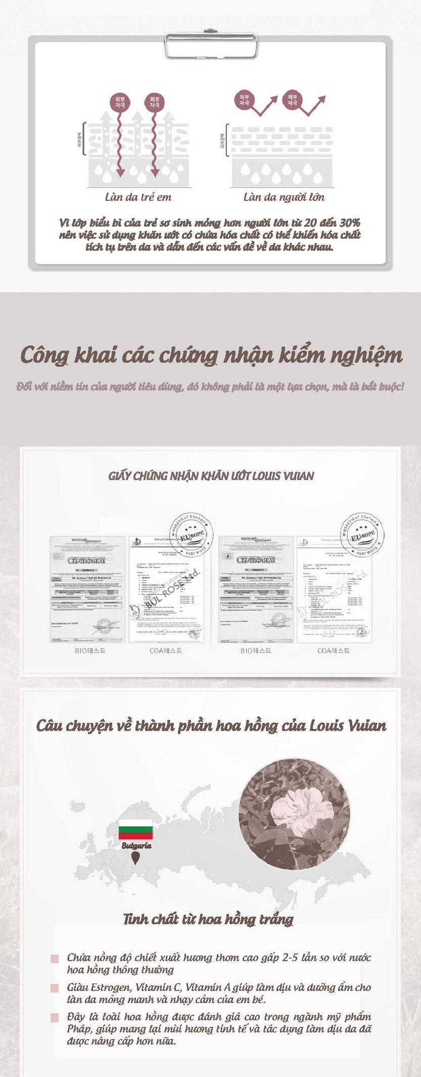 Khăn giấy ướt cho bé Louis Vuian 100 miếng Hàn Quốc 4