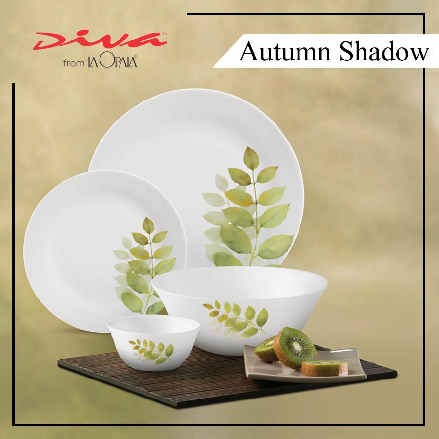 Bộ Chén Dĩa Thủy Tinh Tròn Diva La Opala Autumn Shadow 14 món 2