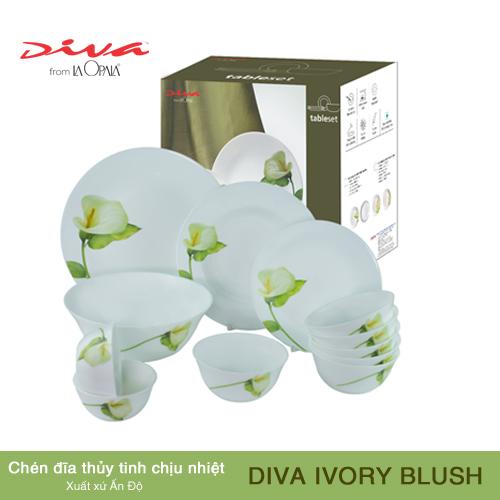 Bộ Chén Dĩa Thủy Tinh Tròn Diva La Opala Ivory Blush 14 món 2