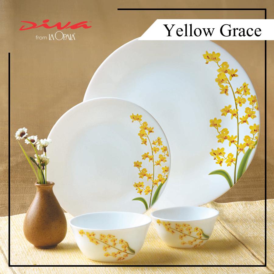 Bộ Chén Dĩa Thủy Tinh Tròn Diva La Opala  Yellow Grace 14 món 2