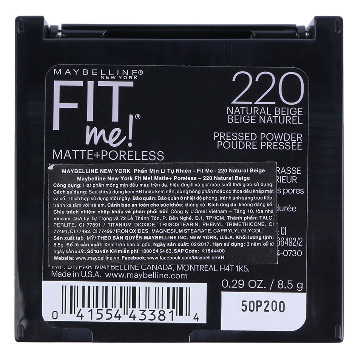 Phấn Phủ Mịn Lì Tự Nhiên Maybelline Fit Me Matte Poreless Màu 120 2